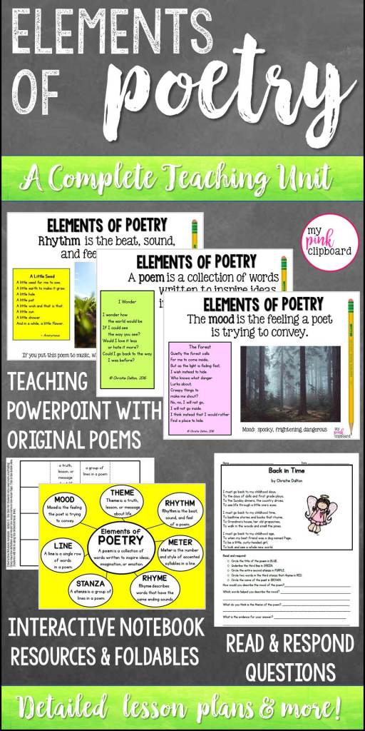 pinterest pin for elements of poetry